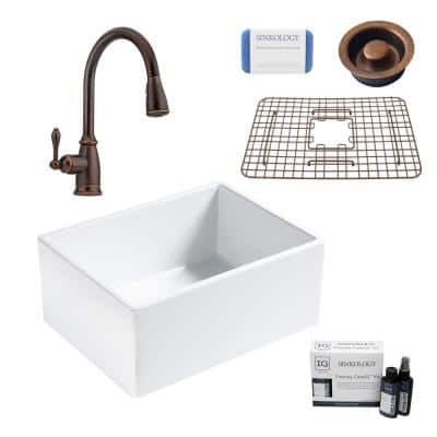 Wilcox II All-in-One Farmhouse/Apron Fireclay 24 in. Single Bowl Kitchen Sink with Pfister Bronze Faucet and Drain