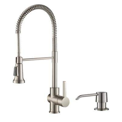 Britt Single Handle Pull Down Sprayer Kitchen Faucet with Deck Plate and Soap Dispenser in Spot Free Stainless Steel