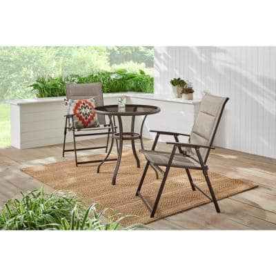 Mix and Match Steel Padded Sling Folding Outdoor Patio Dining Chair in Riverbed Taupe Tan (2-Pack)