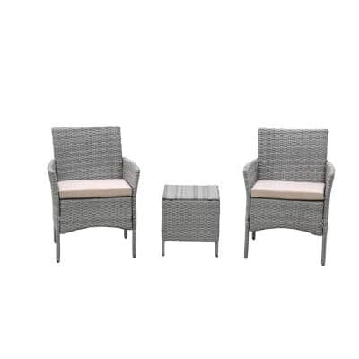 Mondawe Grey 3-pc Rattan Wicker Outdoor Dual PE Garden Furniture Conversation Sofa Set with Beige Cushions