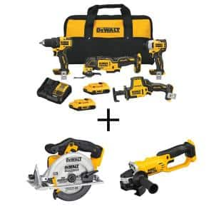 ATOMIC 20-Volt MAX Cordless Brushless Combo Kit (4-Tool), Brushless 6-1/2 in. Circular Saw & 4-1/2 in. Grinder