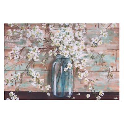 Blooms in Mason Jar Floral Canvas Wall Art