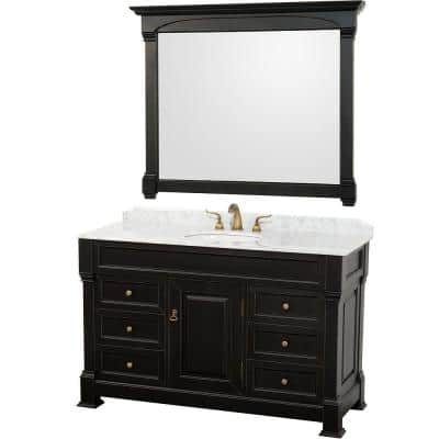 Andover 55 in. Vanity in Antique Black with Marble Vanity Top in Carrera White and Mirror