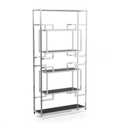 Bargara 90.38 in. Chrome Plating and Black Metal 5-Shelf Standard Bookcase