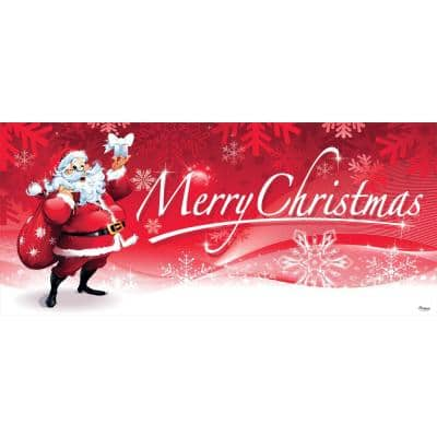 7 ft. x 16 ft. Santa's Merry Christmas Garage Door Decor Mural for Double Car Garage