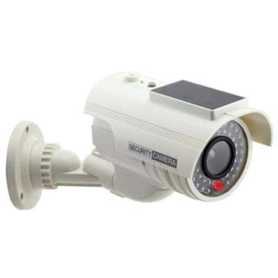 Solar Powered Fake Dummy Security Camera - White