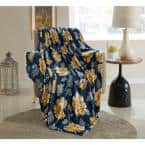 Blue Floral 50 in. x 60 in. Throw Blanket