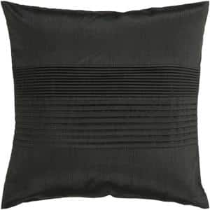 Virgili Black Solid Polyester 22 in. x 22 in. Throw Pillow