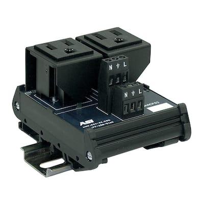 15 Amp 125-Volt Dual AC Outlet Single Phase Interface Module DIN Mount
