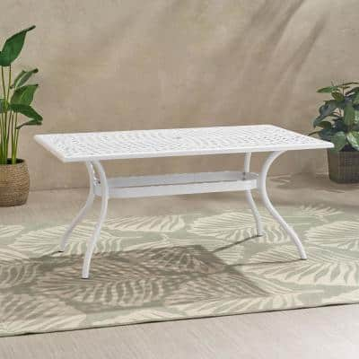 Phoenix 30 in. White Rectangle Aluminum Outdoor Dining Table