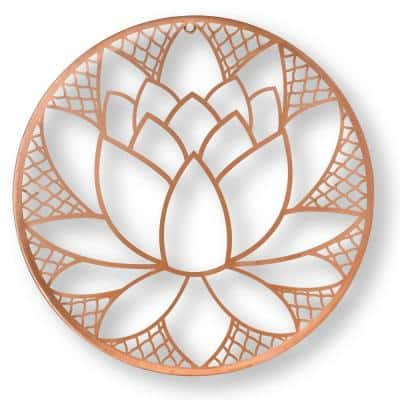 """16 in. x 16 in. """"Lotus Blossom"""" Metal Wall Art"""