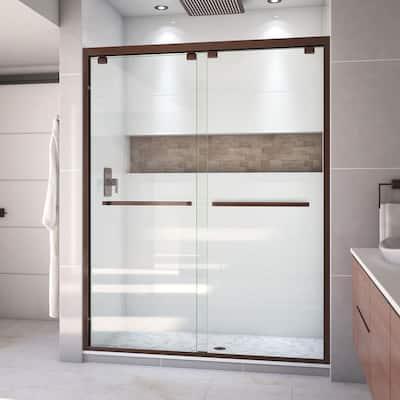 Encore 56 to 60 in. x 76 in. Semi-Frameless Sliding Shower Door in Oil Rubbed Bronze