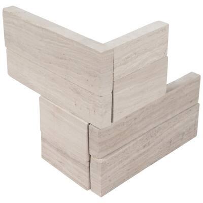 White Oak 3D Mini Ledger Panel Corner 4.5 in. x 9 in. Honed Marble Wall Tile (4 sq. ft./Case)