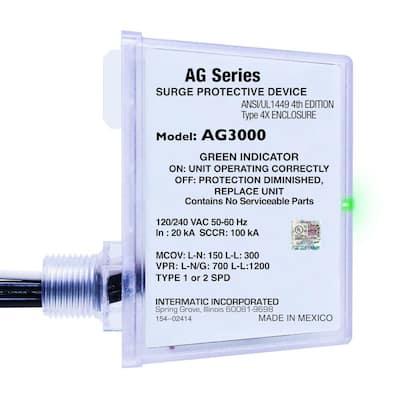120-Volt/240-Volt AC 4X Enclosure Type 1 or Type 2 SPD Whole House Surge Protective Device