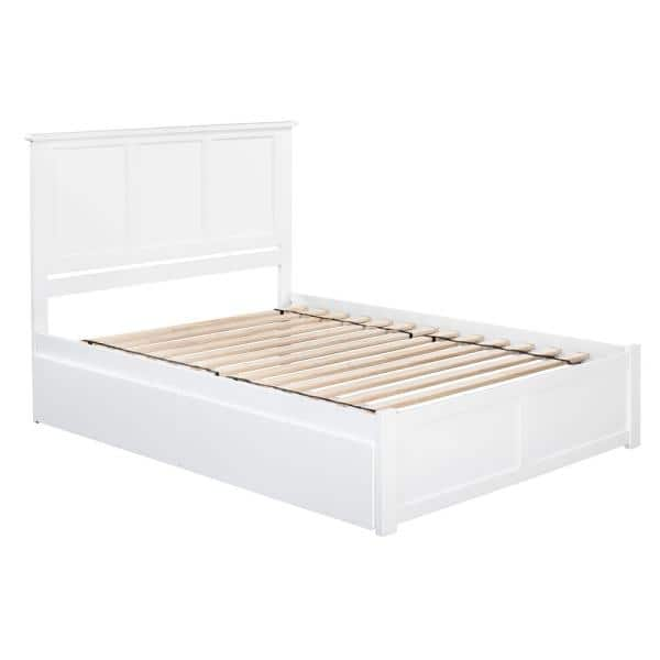 Atlantic Furniture Madison White Queen, Queen Platform Bed Frame With Storage White