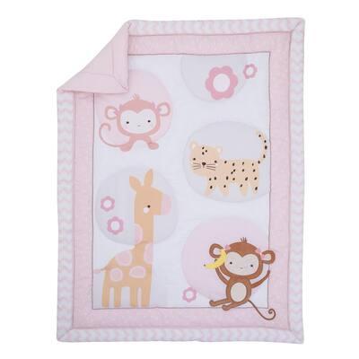Sweet Jungle Friends Monkey Cheetah and Giraffe 3-Piece Crib Bedding Set (Comforter Fitted Crib Sheet and Crib Skirt)