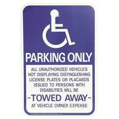18 in. x 12 in. Aluminum Handicapped Parking Only Sign