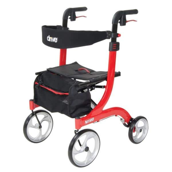 Drive Medical Nitro Euro Style Rollator Rolling Walker Red Rtl10266 The Home Depot