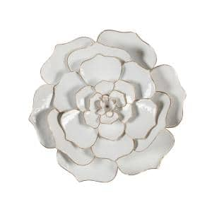 24 in. Dia Metal White Flower Wall Art