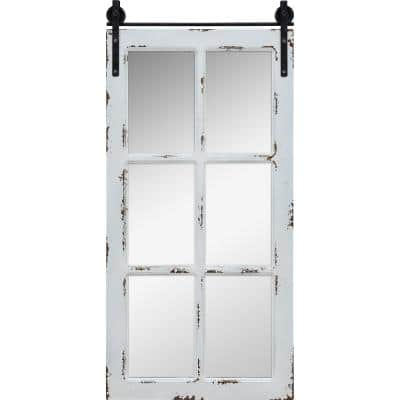 Medium Rectangle Aged White Contemporary Mirror (36 in. H x 1 in. W)