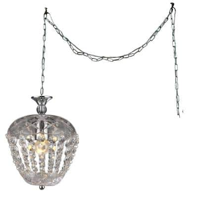Miriam 8 in. Chrome Indoor Crystal Swag Chandelier with Shade