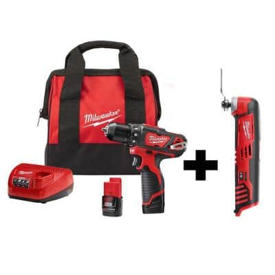 M12 12-Volt Lithium-Ion Cordless 3/8 in. Drill/Driver Kit with M12 Oscillating Multi-Tool