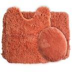 3-Piece 19.5 in. x 24 in. Rust Super Plush Non-Slip Bath Mat Set