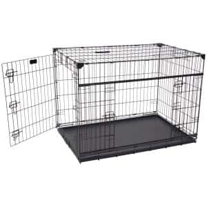42 in. Sliding Double Door Dog Crate with Patented Corner Stabilizers, Removable Tray, Rubber Feet and Carrying Handle