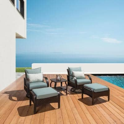Barcelo 5-Piece Motion Wicker Patio Deep Seating Conversation Set with Sunbrella Spa Blue Cushions