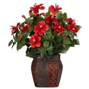 24 in. H Red Hibiscus with Vase Silk Plant