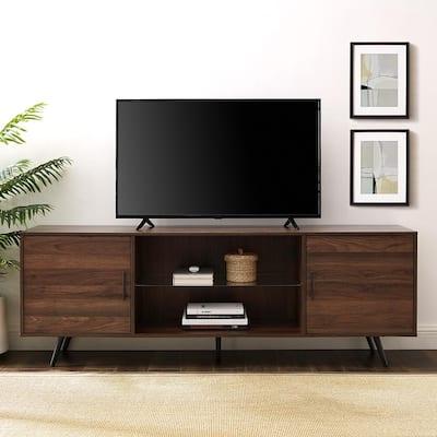 70 in. Dark Walnut Composite TV Stand 75 in. with Doors