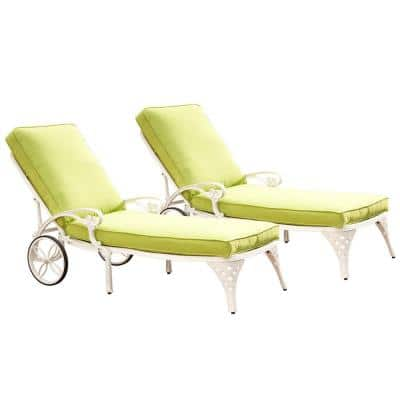 Biscayne White Patio Chaise Lounge with Green Apple Cushion (Set of 2)