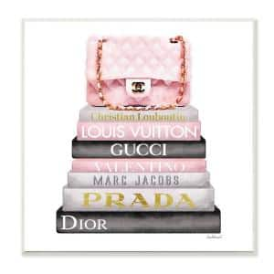 12 in. x 12 in. '' Watercolor High Fashion Bookstack Padded Pink Bag'' by Artist Amanda Greenwood Wood Wall Art
