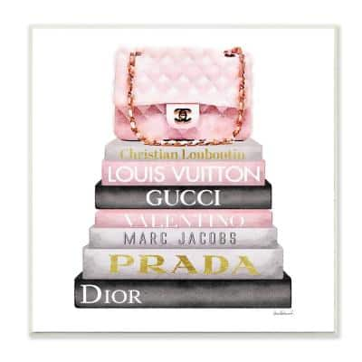 """12 in. x 12 in. """" Watercolor High Fashion Bookstack Padded Pink Bag"""" by Artist Amanda Greenwood Wood Wall Art"""