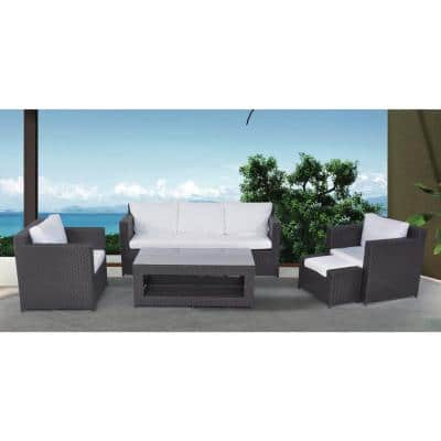 SOMEO Beige 4-Piece All-Weather Wicker Patio Conversation Set with Gray Cushions