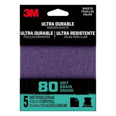 4.5 in. x 5.5 in. 80-Grit Ultra Durable Power Sanding (1/4 Sheet, Case of 20, 5-Packs)