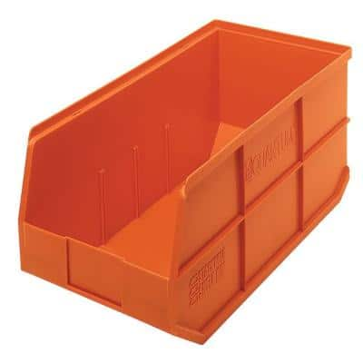 Quantum Storage Systems Stackable Shelf, Orange Plastic Storage Totes