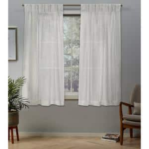 Snowflake Linen Pinch Pleat Sheer Curtain - 30 in. W x 63 in. L (Set of 2)