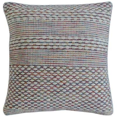 Bohemian Multi-Color Striped Durable Poly Fill 20 in. x 20 in. Throw Pillow