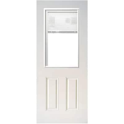 31-3/4 in. x 79 in. Mini-Blind White Primed Clear Glass Half Lite Fiberglass Back Door Slab
