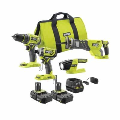 18-Volt ONE+ Lithium-ion Brushless Cordless 4-Tool Combo Kit with (2) 2.0 Ah Batteries, Charger, and Bag