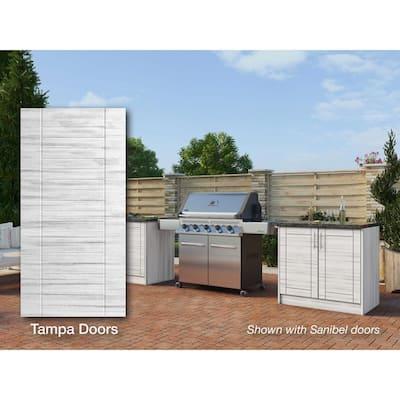 Tampa Whitewash 16-Piece 73.25 in. x 34.5 in. x 25.5 in. Outdoor Kitchen Cabinet Island Set