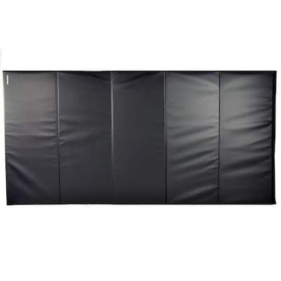 Folding 5 ft. x 10 ft. x 2 in. Black 18 oz. Vinyl and Foam Gymnastics Mat