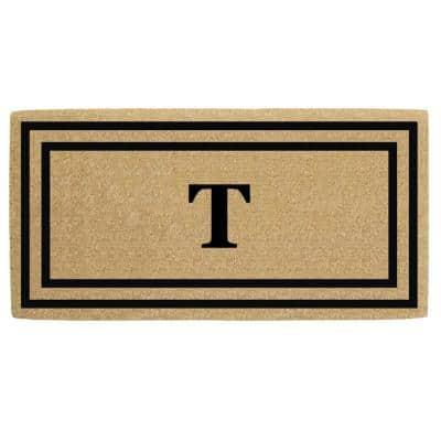 36 in. x 72 in. Heavy Duty Black Thin Double Picture Frame Monogrammed T Coco Door Mat