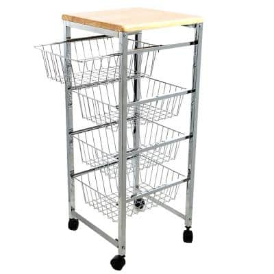 Carro Silver Kitchen Cart with Wood Top
