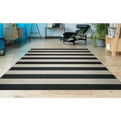 Afuera Yacht Club Onyx-Ivory 9 ft. x 12 ft. Indoor/Outdoor Area Rug