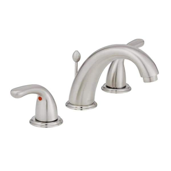 Glacier Bay Builders 8 In Widespread 2 Handle High Arc Bathroom Faucet In Brushed Nickel Hd67364w 6b04 The Home Depot