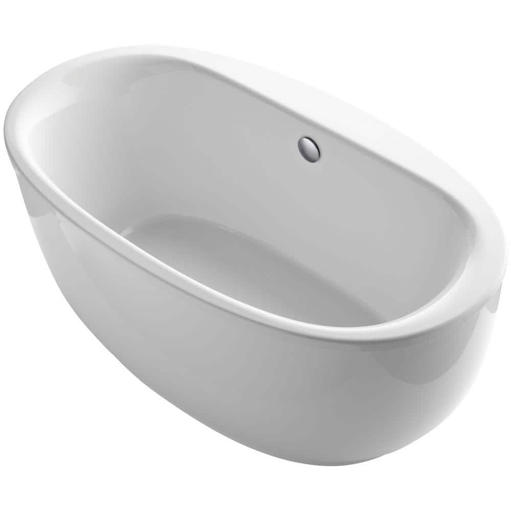 Kohler Sunstruck 66 In X 36 In Oval Freestanding Bathtub With Fluted Shroud And Center Drain In White K 6369 0 The Home Depot