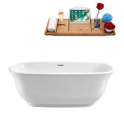 Streamline 59 1 In Acrylic Flatbottom Non Whirlpool Bathtub In Glossy White N 660 59fswh Fm The Home Depot