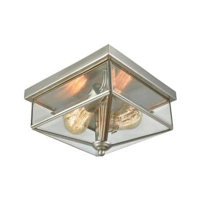 Lankford 2-Light Satin Nickel Outdoor Flush Mount